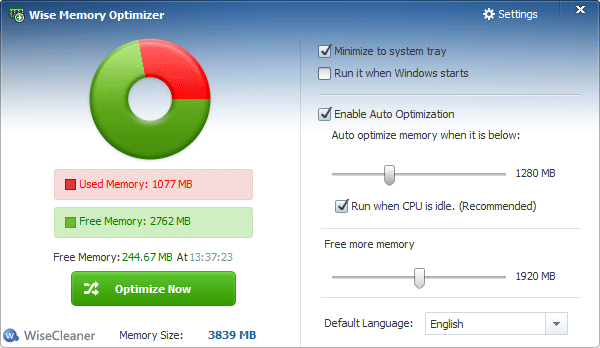 برنامج Wise Memory Optimizer لتنظيف وتسريع الرام