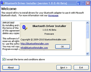Welcome to the bluetooth driver installer