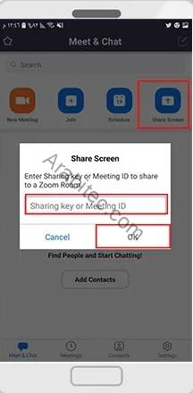 Share screen to zoom room