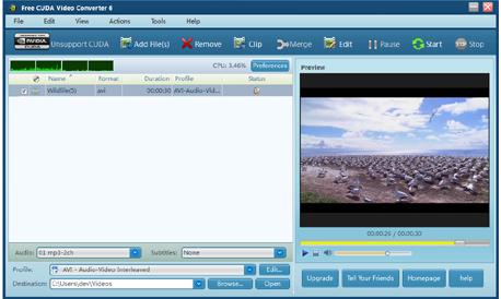 برنامج محول الفيديوهات Free CUDA Video Converter