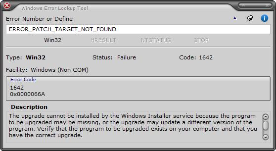 Windows Error Lookup Tool
