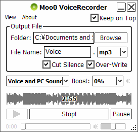 برنامج Moo0 Voice Recorder لتسجيل الصوت