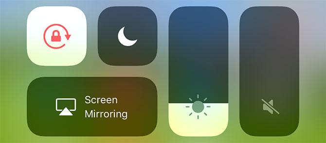 iOS Control Center Screen Options