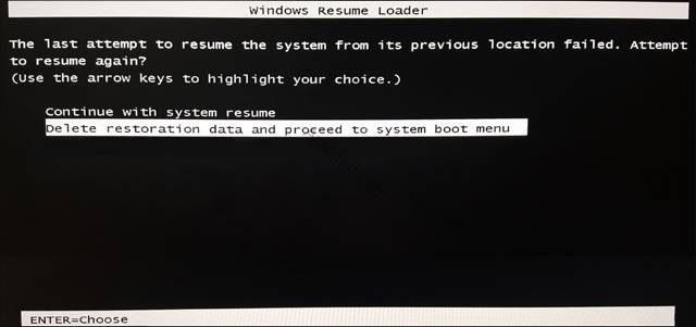 مشكلة  windows Resume Loader